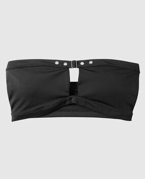 Unlined Bandeau Bikini Top Smoulder Black 1