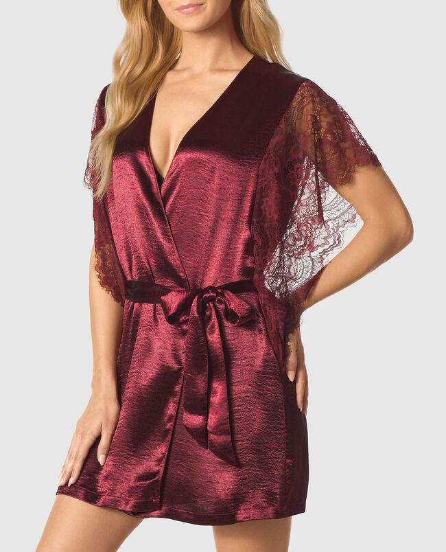 Short Sleeve Satin Kimono