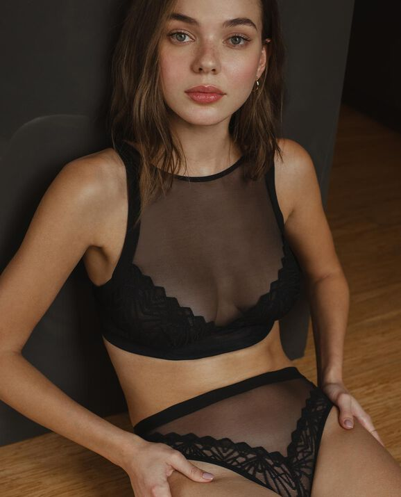 Kiera High Neck Bralette Smoulder Black 1