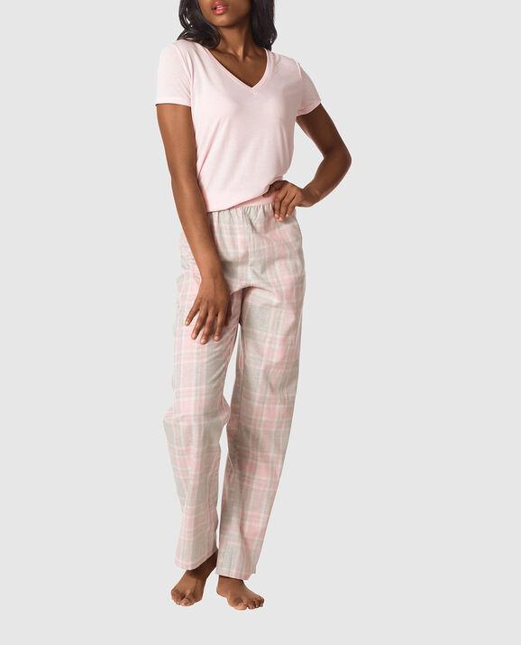 The Cozy Pajama Set Light Pink Grey Plaid 1