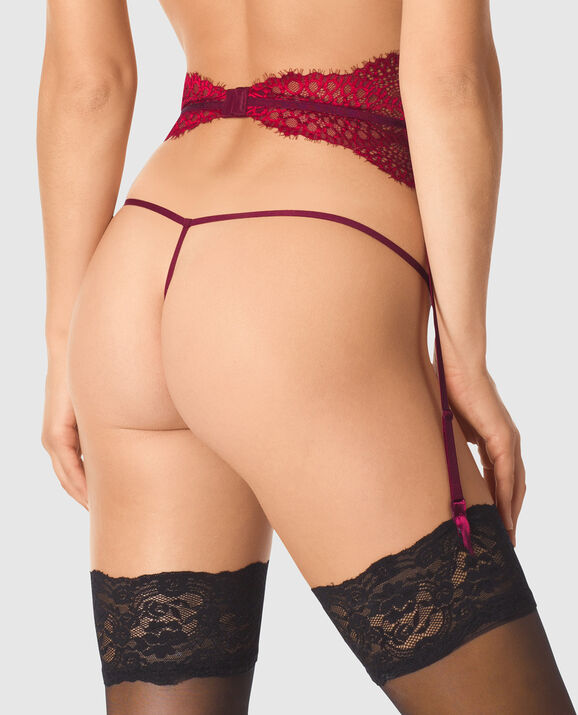 Lace Garter Deep Ruby 2
