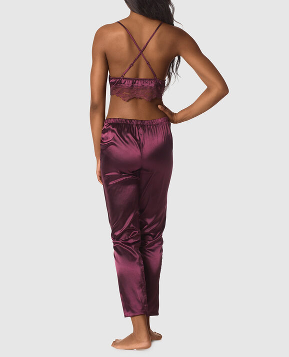 Satin Cami and Tapered Pant Set Espresso 2