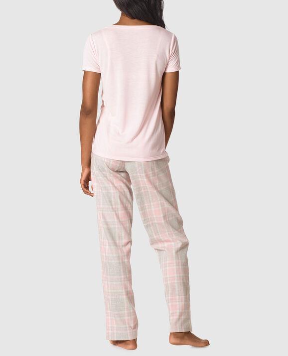 The Cozy Pajama Set Light Pink Grey Plaid 2