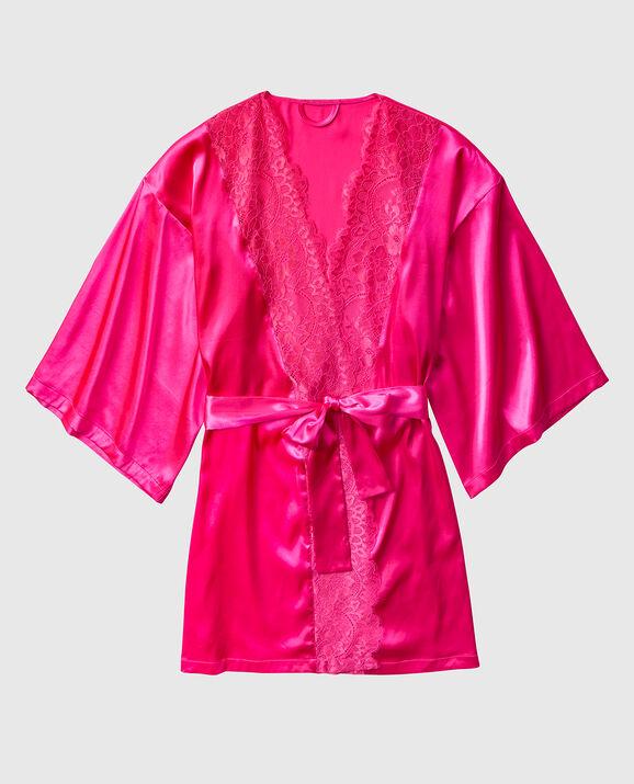 Satin Kimono with Lace Haute Pink 1