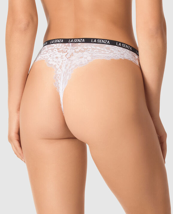 High Waist Thong Panty White 2