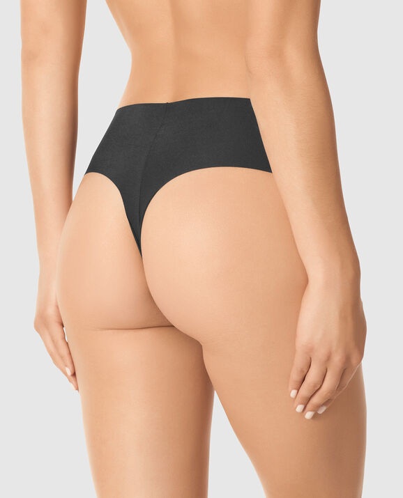 High Waist Thong Panty Smoulder Black 1