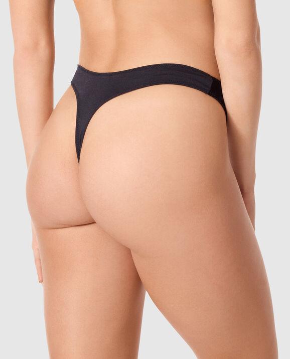 High Leg Thong Panty Smoulder Black 2