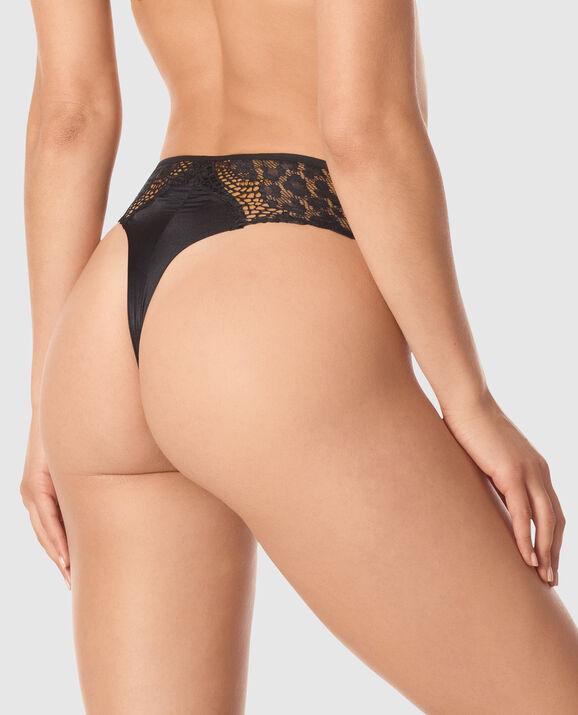 High Waist Thong Panty Smoulder Black 2