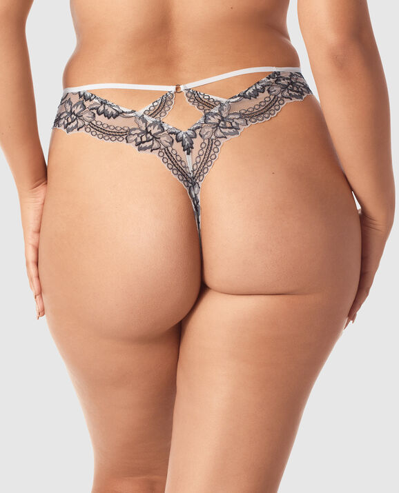 High Waist Thong Panty Ivory with Black 2