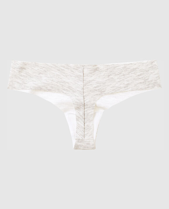 Thong Panty Snow Heather with White 2
