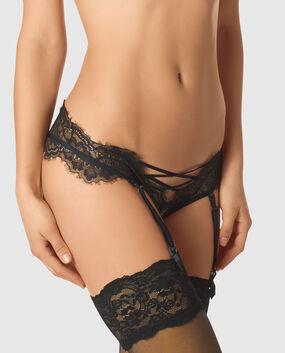Bumless Crotchless Garter Panty Smoulder Black 1
