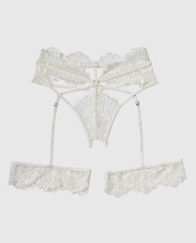 Crotchless G-String Garter Panty Ivory 1
