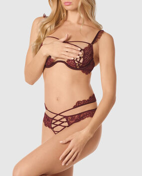 Unlined Lace Bra with Criss-Cross Cut-out Espresso 1