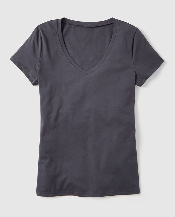 Short Sleeve V-Neck Dark Grey 2