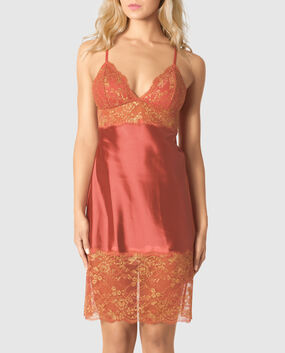 Satin Chemise with Lace