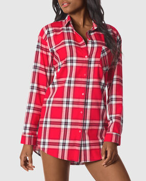 Flannel Sleepshirt Posh Black White Plaid 1