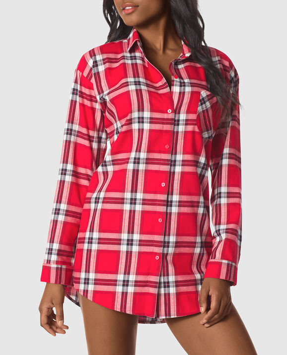 Flannel Sleepshirt Red Plaid 1
