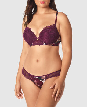 Up 2 Cup Push Up Bra Wine Rose Print 1