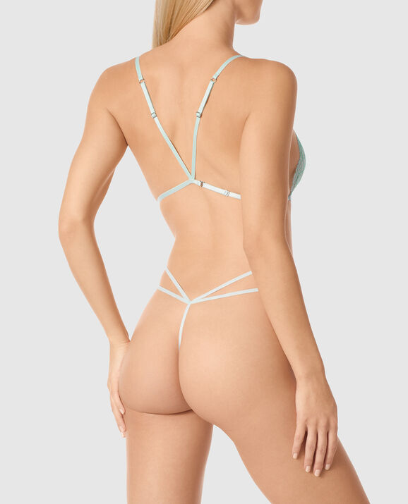 Strappy Unlined Lace Bodysuit Beach Glass 2