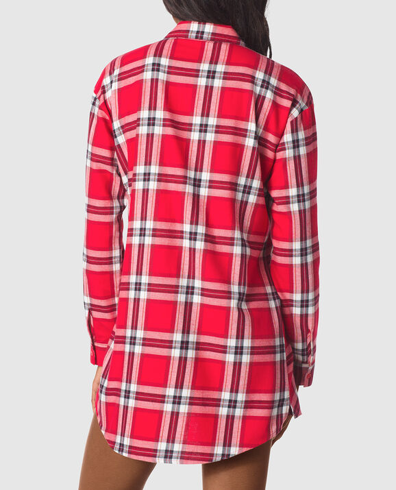 Flannel Sleepshirt Red Plaid 2