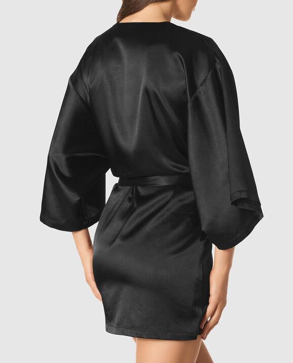 Satin Kimono Smoulder Black 2