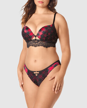 Up 2 Cup Push Up Bra Red & Black Plaid 1
