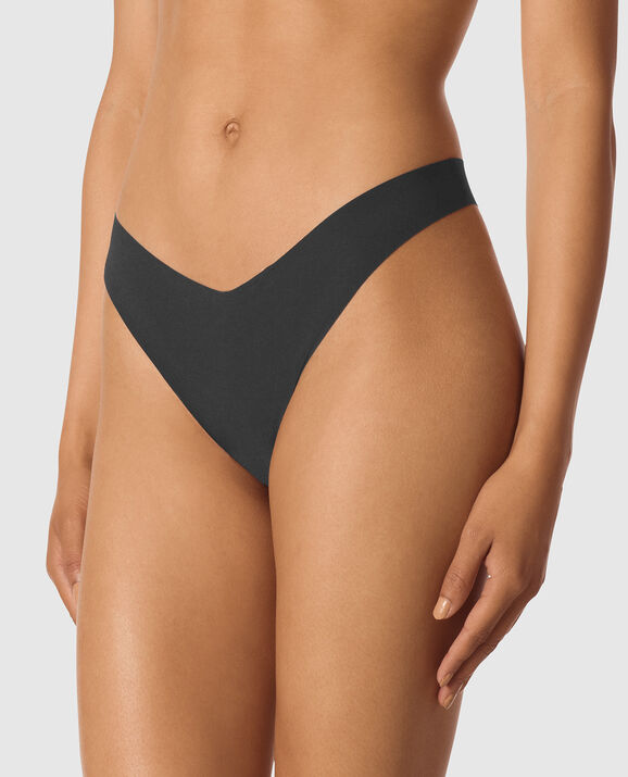 High Leg Thong Panty Smoulder Black 1