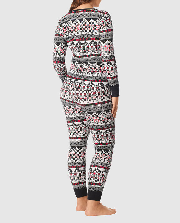 The Skinny Pajama Set Black White Fairisle 3