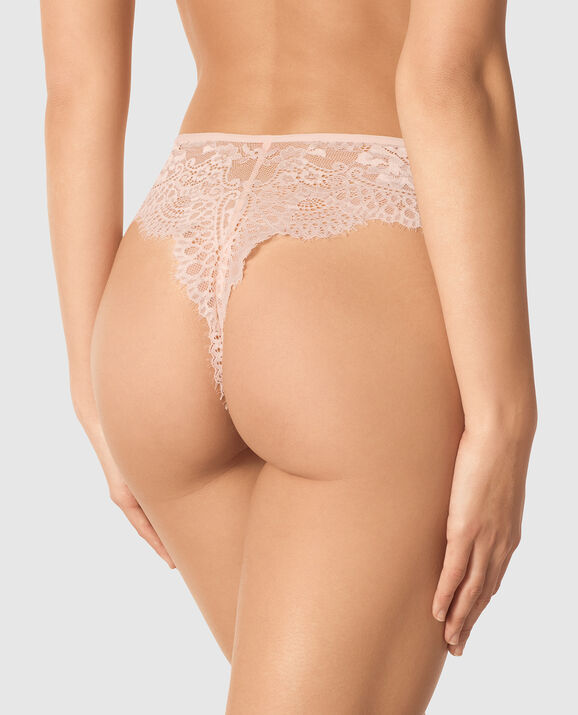High Waist Thong Panty Barely Blush 2