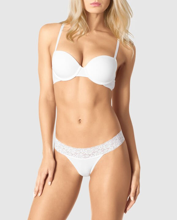 Lightly Lined Demi Bra White 1