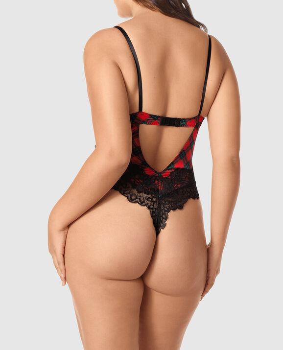 Satin Push Up Bodysuit Bella Red Plaid 3