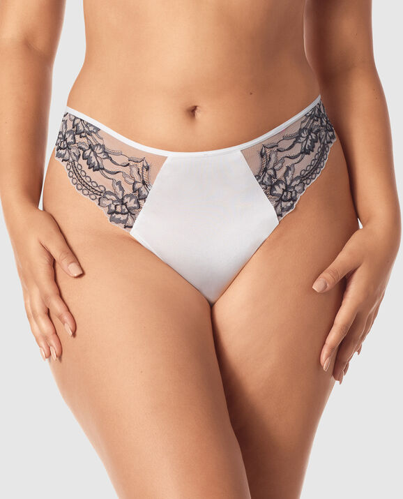 High Waist Thong Panty Ivory with Black 1