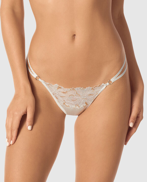 Crotchless Thong Panty Coconut White 1