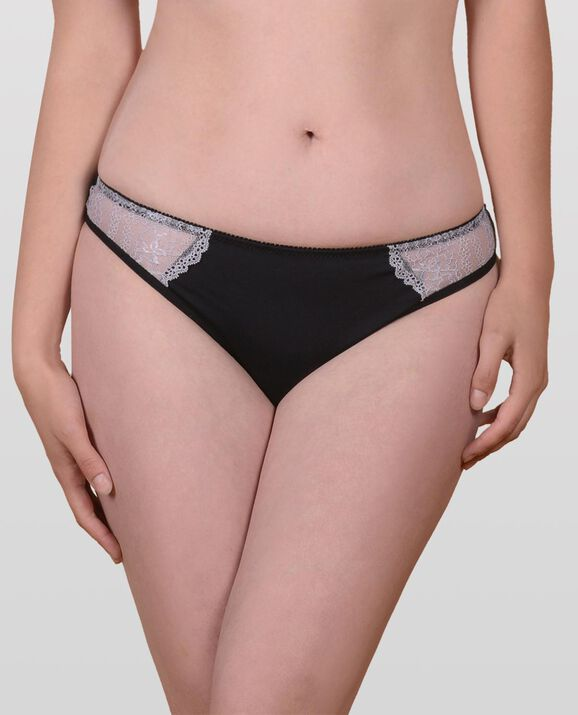 The Flawless Lace Trim Thong Panty Smoulder Black 1