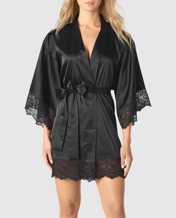 Satin Kimono with Lace Smoulder Black 1
