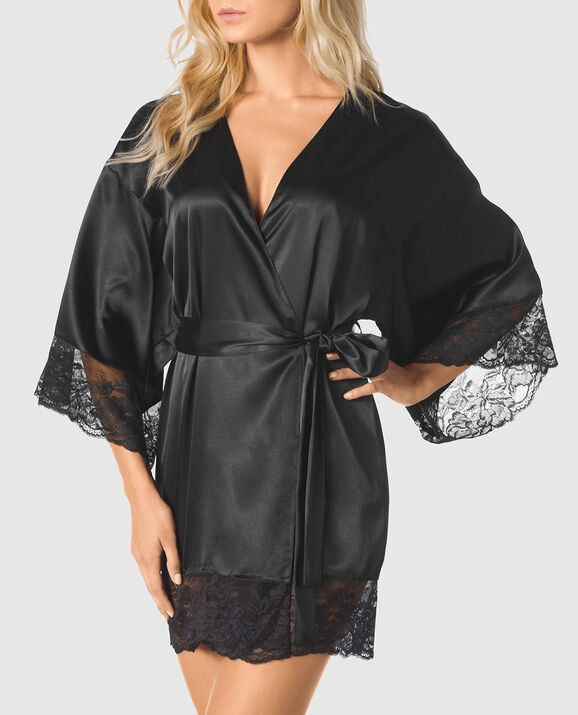 Satin Kimono with Lace Sleeve Smoulder Black 1