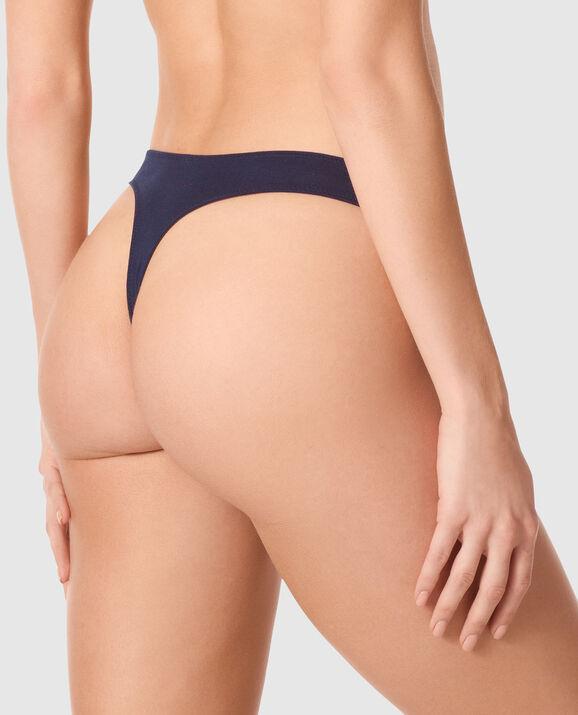 High Leg Thong Panty Blue Velvet 2
