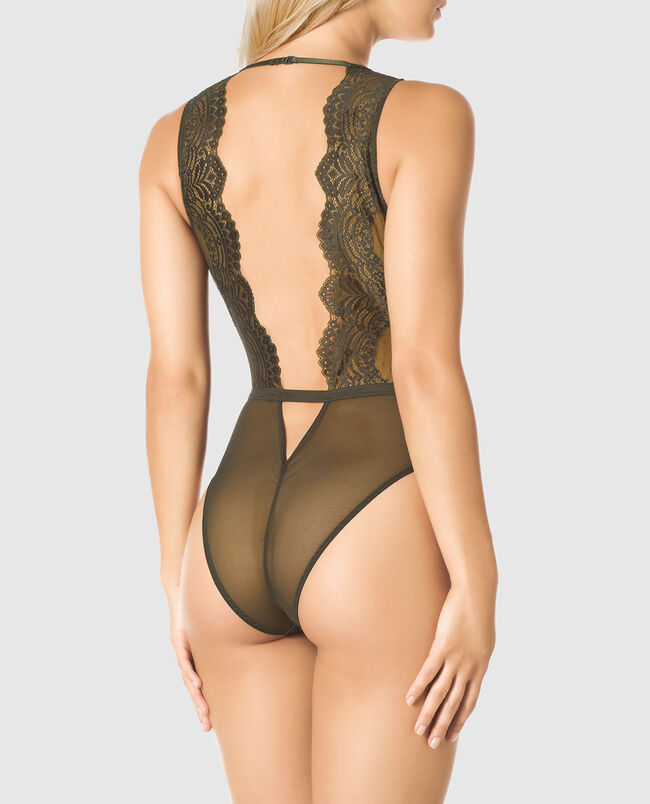 Unlined Mesh and Lace Bodysuit