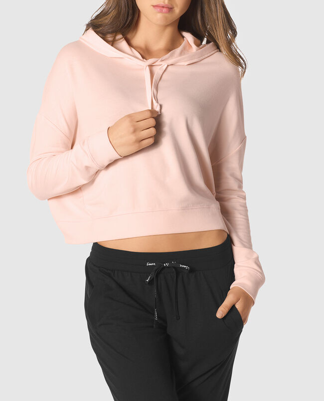 Crop Hoodie with Cut-Out Back