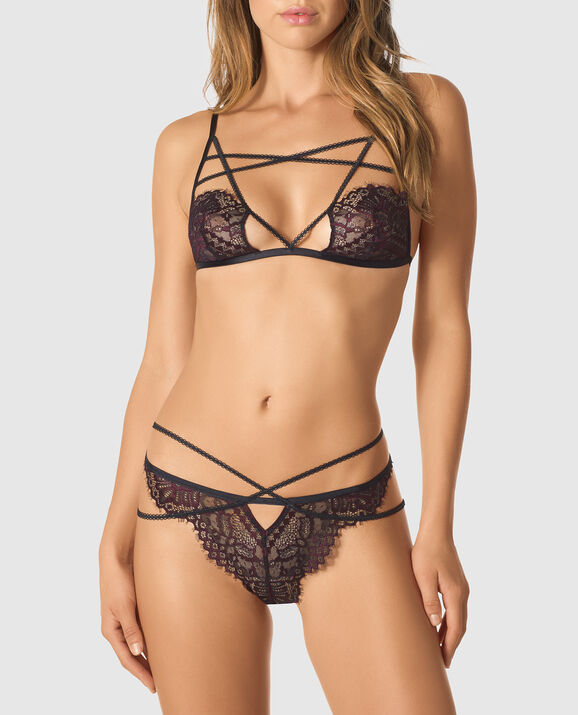 Unlined Lace Bra Black with Dark Brandy 1