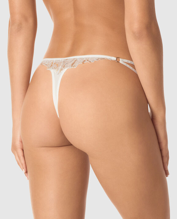 Crotchless Thong Panty Coconut White 2