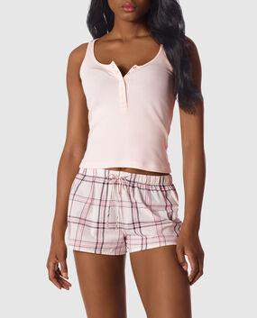 Tank and Short Pajama Set Light Pink Plaid 1
