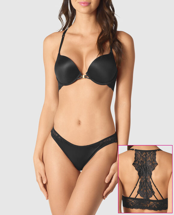 Front-Close Up 2 Cup Push Up Bra Smoulder Black 1