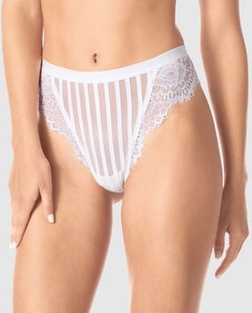 High Waist Thong Panty White 1