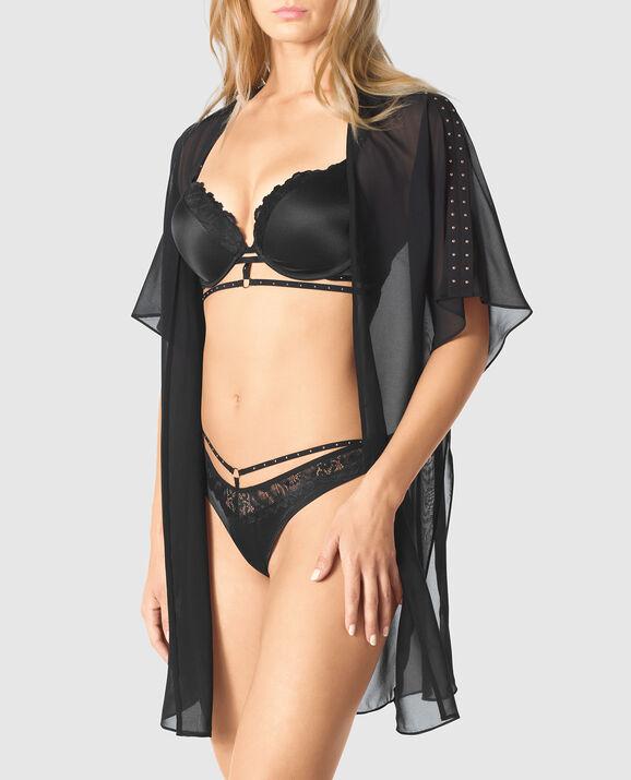 Draped Chiffon Kimono Smoulder Black 1
