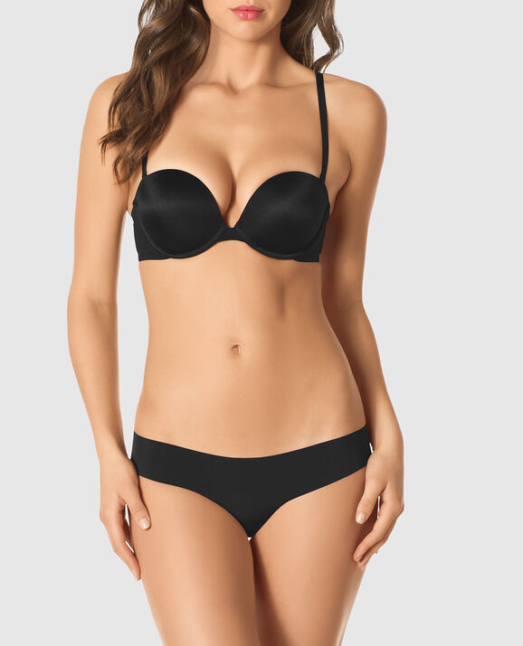 Strapless Up 2 Cup Push Up Bra Smoulder Black 3