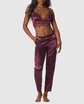 Satin Cami and Tapered Pant Set Smoulder Black 1