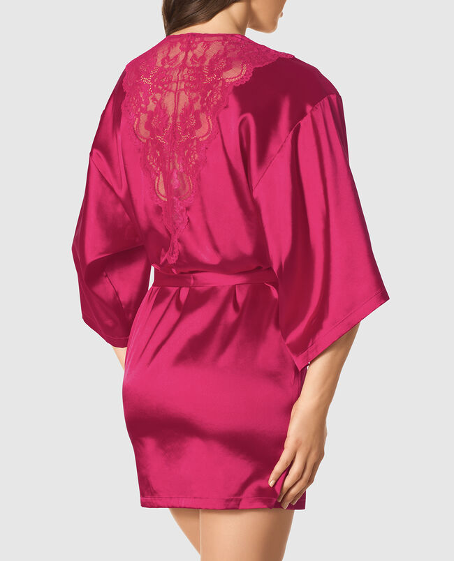 Satin Kimono with Lace Back