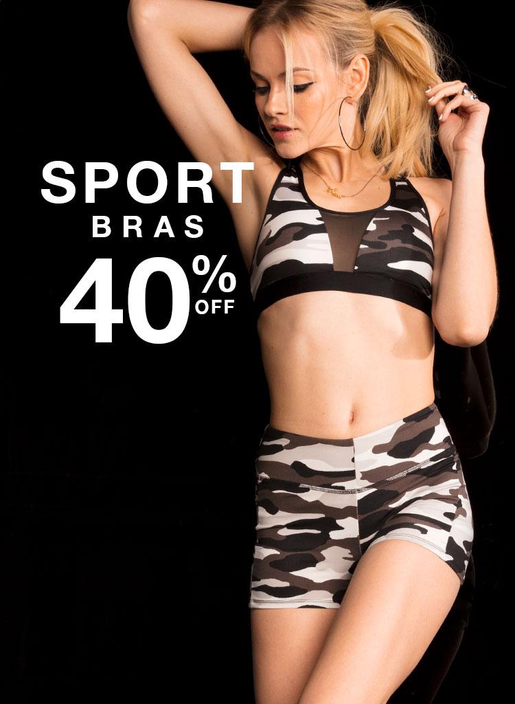 Sport bras 40% off.