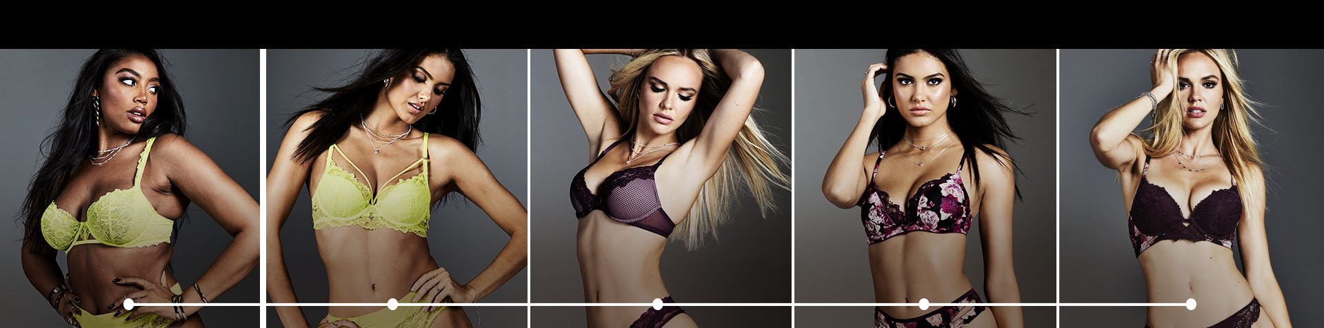 There are 5 models wearing La Senza bras. The first model is wearing a neon yellow unlined bra. The second model is wearing a neon yellow lightly lined bra. The third model is wearing a purple no wire bra. The fourth model is wearing a purple floral push up bra. The fifth model is wearing a purple extreme push up bra.